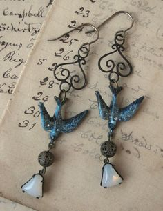Blue Rhinestone Bird Dangle Earrings Brass Vintage Components
