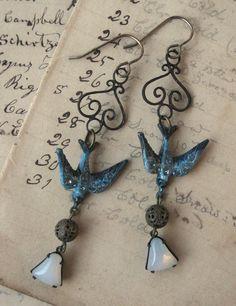 Blue Rhinestone Bird Dangle Earrings