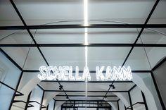 Headquarter interior design of retail fashion brand. Interior Concept, Fashion Brand, Fashion Design, Office Interior Design, Neon Lighting, Retail, Chandelier, Neon Signs, Ceiling Lights