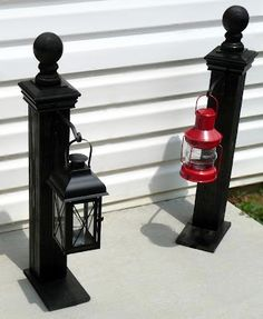 lamp post with hanging lanterns