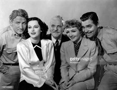 American actor Spencer Tracy posing with Austrian-born American actress and scientist edy Lamarr , French-born American actress Claudette Colbert and American actors Frank Morgan and Clark Gable in...