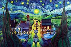 Made by: Ron English - (In Van Gogh style combined with his own style, These paintings made me a fan of Ron English)