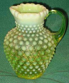 Fenton Yellow Opalescent Vaseline Glass Hobnail Pitcher Vase