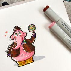 Bing Bong Chibi by DeeeSkye Drawing Cartoon Characters, Character Drawing, Cartoon Drawings, Cool Drawings, Drawing Faces, Character Design, Arte Disney, Disney Fan Art, Disney Dream