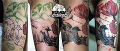bird and flowers tattoo process