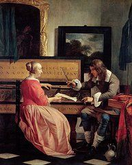 Metsu Art - A Man and a Woman Seated by a Virginal by Gabriel Metsu