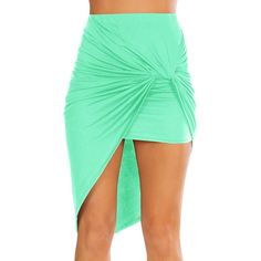 Simlu Womens Drape Up Stretchy Asymmetrical High Low Short Mini... ($17) ❤ liked on Polyvore featuring skirts, mini skirts, pencil skirts, hi lo skirt, bodycon skirt, short pencil skirt and stretch mini skirt