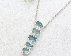 Natural Aquamarine Gemstone Longer Length Handmade Sterling Silver Ladies Necklace