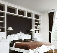 book shelves - repin idea... maybe just matching built ins next to window in MBR by hreshtak