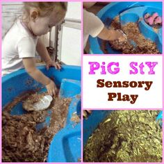 Sensory pig sty - wet and messy play with lots of activities for toddler farmers. Is that eugh? 3 Little Pigs Activities, Farm Activities, Kids Learning Activities, Educational Activities, Toddler Activities, Preschool Ideas, Spring Activities, Farm Crafts, Kid Crafts