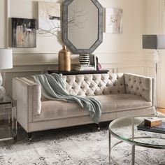 This Art Deco tufted upholstered nailhead sofa from the Safavieh Couture collection features luminous pearl velvet upholstery and espresso legs on casters. Furniture, Nailhead Sofa, Lifestyle Furniture, Glam Sofas, Sofa Styling, Sofa, Furniture Prices, Tufted Sofa Living Room, Tufted Sofa