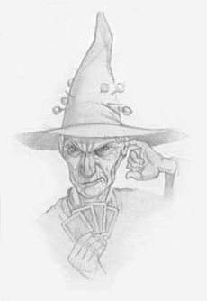 "Granny Weatherwax, if she can help it, wears a plain black dress, a somewhat battered black cloak and a tall, pointed witch's hat, skewered to her 'iron-hard grey bun' hairstyle with multiple hatpins. She is thin, and, while not really that tall, has such a commanding presence that she seems tall. She gives her weight as ""9 stone"""