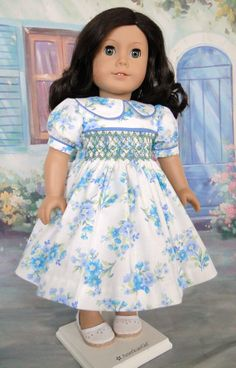 Hand Smocked Dress for 18 inch dolls by dancingwithneedles on Etsy. $41.00.