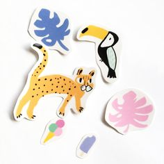 Cheetah Sticker Pack 6 Hand Cut Clear Stickers by CanigrinShop