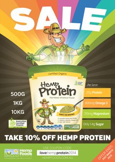 Hemp Protein Sale is NOW ON! www.hempprotein.com.au - plant based hemp protein is the best protein ever!