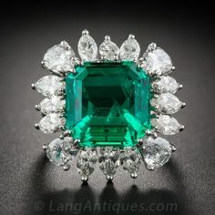 Carat Emerald and Diamond Ring - AGL Certified (Insignificant to Minor Treatment) - Antique & Vintage Gemstone Rings - Vintage Jewelry Emerald Jewelry, Gems Jewelry, Diamond Jewelry, Jewelery, Fine Jewelry, Emerald Rings, Gemstone Rings, Sapphire Rings, Ruby Sapphire