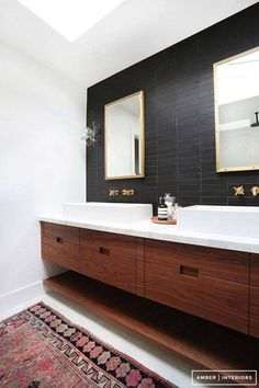 black accent walls black tile bathroom