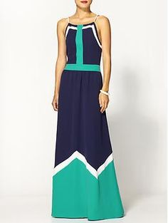 Pim + Larkin Colorblock Maxi Dress | Piperlime - I would totally wear this to a summer wedding, but don't have any on the calendar:(