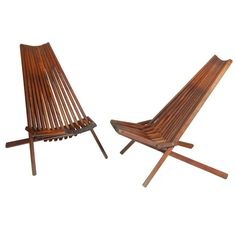 Folding Wooden Lounge Chairs | From a unique collection of antique and modern lounge chairs at https://www.1stdibs.com/furniture/seating/lounge-chairs/