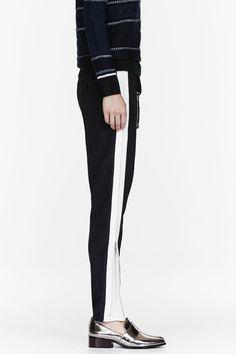3.1 PHILLIP LIM Black silk zip-trimmed loungepants