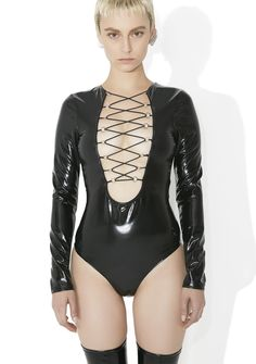 Deadly Toxin Vinyl Lace-Up Bodysuit cuz yew take 'em down in seconds, babe. Show yer fangz with this bodysuit that features a shiny af black construction, tight curve-huggin' fit, long sleeves, a bikini snap closure, and a plunging lace-up neckline.