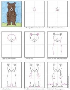 Draw a Standing Bear · Art Projects for Kids - Bear diagram Bear Drawing, Drawing For Kids, Painting For Kids, Art For Kids, Drawing Projects, Art Projects, Directed Drawing, Bear Art, Step By Step Drawing
