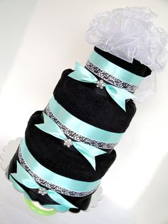 Towel Cake - Black, Tiffany Blue, & Damask 3 Tier Towel Cake. But instead of blue have purple