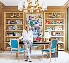 Peek into Tory Burch's Fabulous New York Office// Louis XVI Chairs, bookshelf styling