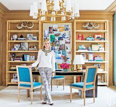 Peek into Tory Burch's Fabulous New York Office// Louis XVI Chairs, bookshelf styling