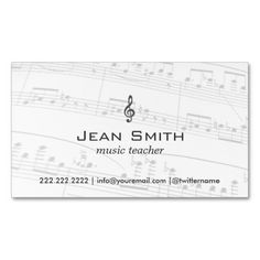 Classy Music Notes Music Teacher Business Card. This great business card design is available for customization. All text style, colors, sizes can be modified to fit your needs. Just click the image to learn more!
