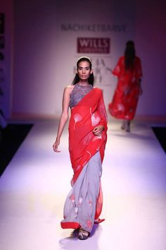 Guaranteed bestseller- Nachiket Barve's red and grey sari with gingko leaf motifs.