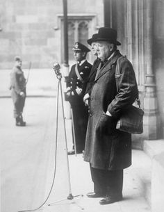 The Second World War: The Prime Minister, Winston Churchill, carrying his gas mask while inspecting men of the Parliamentary Home Guard, Palace of Westminster, London. Churchill Quotes, Winston Churchill, Famous Freemasons, Home Guard, Old London, Man Humor, World History, World War Two, People Like
