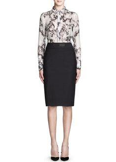 Metal appliqué wool-blend skirt