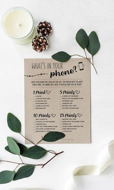 What's In Your Phone Baby Shower Game, Whats In Your Phone, Rustic Baby Shower, Kraft Paper Game, Woodland Baby Shower, Baby Shower Activity