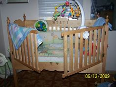 Custom Made Maple Baby Crib opens easily from the outside so individuals don't have to pick up the baby from over the rail.