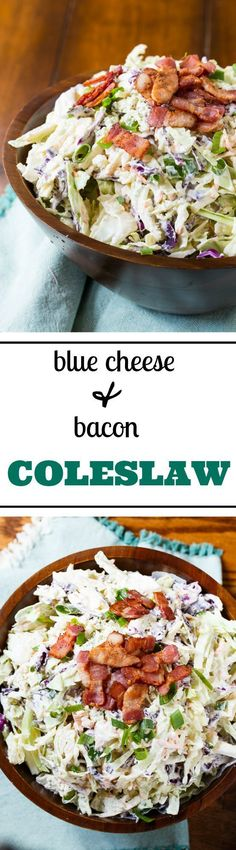 Tons of flavor in this Blue Cheese and Bacon Coleslaw.