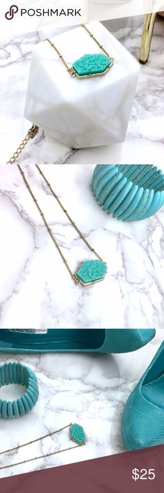 Faux Turquoise pavé style necklace Simple and adorable piece. How cool is to match turquoise pieces with nude tones? Well, thats how I see they should be paired. Forget black, go with sand nude tones and you will look extra slick. Will post a pic on mannequin so you can see the actual dimension. Boutique Jewelry Necklaces