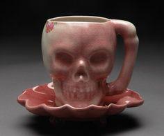 Skull Mug with Saucer