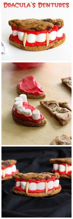 Dracula's Dentures - made from chocolate chip cookies, red frosting, and marshmallows. treat good for halloween snacks Halloween Snacks, Hallowen Food, Bolo Halloween, Postres Halloween, Recetas Halloween, Dessert Halloween, Halloween Goodies, Halloween Kids, Halloween Chocolate