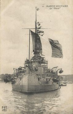 """WW1, """"Le patrie"""", a pre-dreadnought battleship of the French Navy built in the early 1900s. At the outbreak of the First World War she was assigned to the 1st Division of the 2nd Division in the Mediterranean. For the majority of the war, the French used their main fleet to keep the Austro-Hungarian fleet bottled up in the Adriatic Sea."""