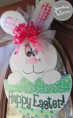 Easter Bunny in Egg Door Hanger Sign by SparkledWhimsy on Etsy