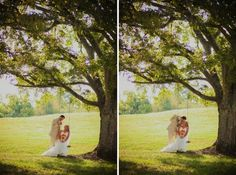 Rustic chic country wedding with bright colors and a stunning lace wedding dress by Maggie Sottero.