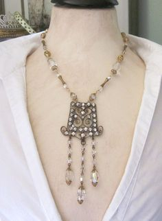 Vintage Rhinestone Buckle Upcycled Statement Necklace
