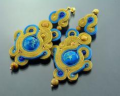Long Blue Gold Dangle Earrings  Long Dangle by OzdobyZiemi on Etsy