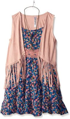 bf438e351f5f Beautees Girls  2 Piece Suede Vest Over Dress  Floral printed sleeveless  dress with solid colored lace waistband and faux suede fringe vest