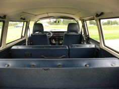 Blue interiour of a Silberfisch. Note the plastic covers for the headrest mounting in the seats. Beautiful vehicle.