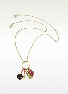 Cuisiniere - Red and Gold Charm Necklace