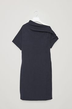 COS image 2 of Jersey dress with drape in Navy