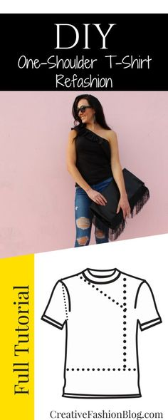 34d2f07092 Make this 1 shoulder top from an old t shirt. This easy tshirt refashion  tutorial