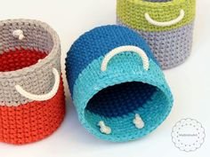 my new crochet round baskets made with Phil corde macrame yarn & Katia Washi yarn, crochet round basket, crochet bin handmade basket, rope basket